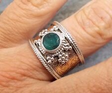 Wide Band 925 Silver Cut EMERALD Two Tone Ring Sz P-7.5 R005~Silverwave*uk