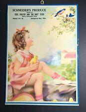 Schneider Produce Sturgeon Bay Wisc Calendar Sign Girl Chick Blue Birds 1940's