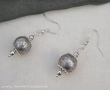 Vintage Style Silver Large Speckle Bead Filigree Caps Dangle Pierced Earrings.
