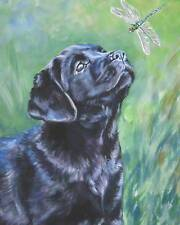 Labrador Retriever CANVAS PRINT painting dog LSHEP art  8x10 black lab
