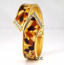 Vintage Art Deco Gold Pltd Crystal Tortoiseshell Slider Hinged Bangle Watch Cuff