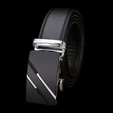 Men's Genuine Leather Automatic Buckle Black Waist Strap Belt Ratchet Belt #fash