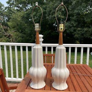 """Vtg MCM Pair Table Lamp Teak Wood White Ceramic Mid Century Danish Modern 28"""""""