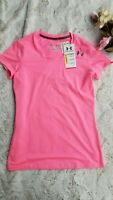 NWT Under Armour Fitted Heat Gear Women's SS Pink Shirt, Size Small Anti-odor