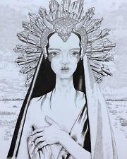 Pashapasha  headdress BJD Woman Portrait Art Signed Original pen&Ink A4