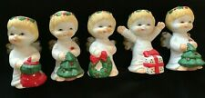 5 CUTE  Vintage BABY Angel Christmas Figurines Ceramic/BISQUE  lot 3 1/2""