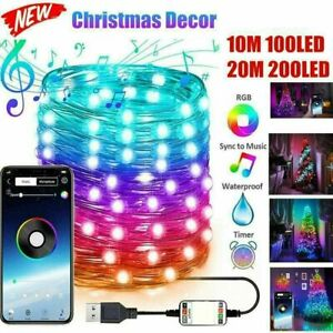 App Remote Control Christmas Tree Decoration Custom LED String Lights 10M/20M uk