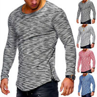 Men's Casual Slim Fit O Neck Muscle Long Sleeve Gym T-shirts Tee Zip Sports Tops