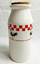 """Kitchen Storage Jar Bottle Roster Red White Checks Design Cork Lid  8"""" Tall"""