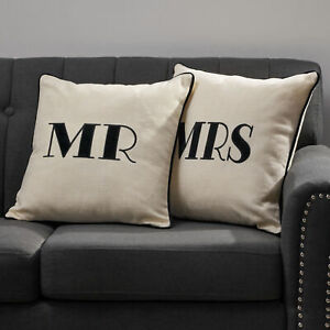 Hailey Modern Fabric MR and MRS Throw Pillows (Set of 2)