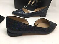The Fix Women's Emma Pointed Toe D'orsay Flats Black Party Glitter Size 7.5 @