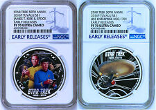 2-COIN Set 2016 Star Trek Captain James Spock USS Enterprise Silver $1 NGC PF70