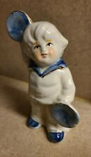 French Collectible Blue/White Vintage Porcelain Boy with Cymbals