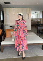 Zimmermann Ladies Maxi Floral Collared V Neck Ruffles Puff Sleeve Shirt Dress