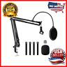 Microphone Arm Stand Adjustable Suspension Boom Scissor Mic Stand Pop Filter