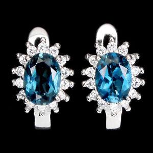 Oval London Blue Topaz 7x5mm Cz White Gold Plate 925 Sterling Silver Earrings