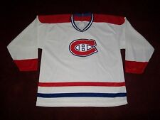VINTAGE MONTREAL CANADIANS CANADIENS HOCKEY JERSEY KNIT CCM LARGE 46 NICE WHITE
