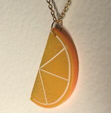 Extra Large Orange Slice Fruit Pendant Kitsch A222  Slice Oversized necklace