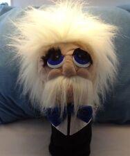"""""""Einstein""""? Hand Puppet 12 In White Hair White Mustache Bow Tie GUC"""