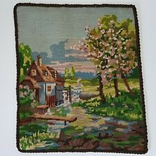 Vintage Completed Needlepoint Picture of English Country Cottage