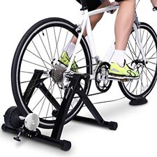 Bike Trainer Stand Steel Bicycle Exercise with Noise Reduction Wheel Black