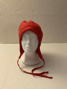 LL Bean Vintage Fleece Red 90s Ski Hat Vintage 90s With Flaps Made In USA