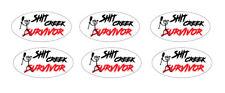 6 x SHIT CREEK SURVIVOR STICKERS  - POPULAR FUNNY STICKERS