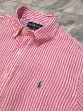 Polo Ralph Lauren 100% Linen Bengal Stripe Shirt Large Custom (Slim) Fit