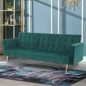 Velvet Sofa Bed Green With Rose/Golden Legs Elegant Sofa bed
