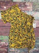 Jessica Simpson Maternity Yellow Floral Half Shoulder Short Sleeve Size Medium