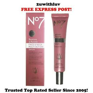 BOOTS NO 7 RESTORE & RENEW FACE & NECK MULTI ACTION SERUM *FREE EXPRESS POST*