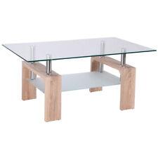 Rectangular Glass Coffee Table Wood w/ Shelf Living Room Home Furniture New