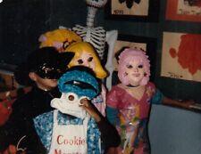 Vintage Photo Halloween School Parade Kids in Costume Cookie Monster Zorro