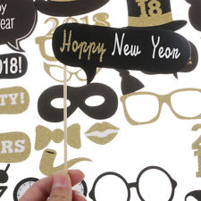 32pcs 2018 Happy New Year Photo Booth Props Eve Party Decorations Supplies Hot
