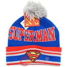 DC Comics Superman Logo Cuff Beanie Hat with Pom Pom - Blue Super Man Cap