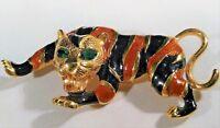 Vintage Asian Tiger Brooch Pin Attack Prowl Green Rhinestone Eye Wild Cat Animal