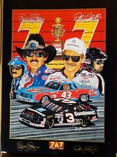 "DALE EARNHARDT SR / RICHARD PETTY ORIGINAL SAM BASS POSTER 1995 ""7 & 7"" 22"" X 30"