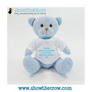20cm Personalised Baby Blue Teddy Bear, Baby Gift, Keepsake Baby Gift
