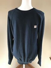 Bench Men Crew Neck Sweater Navy Large 100% Cotton Long Sleeve VGUC