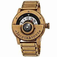 Joshua & Sons Men's Rotating Wheel Compass Antique Style Gold-tone Bracelet