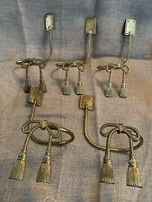 Vintage Large Brass Drapery Holdbacks with Rope Tassel 2 Pair +1