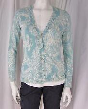 Talbots sz S White & Aqua Print LS Cotton Blend Button Front Cardigan/ Sweater