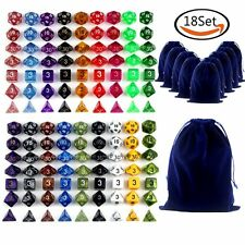 126pcs Polyhedral Dragons Dice RPG Game D4 D6 D8 D10 D12 D20 18 Sets  & 19 Bags