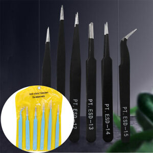 Precision Professional Tweezers 6x Coated Kit Set Non Magnetic Stainless Steel