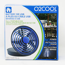 """O2COOL Fan 5"""" Portable USB or Batteries Powered 2 Speed Table Fan, Blue NEW"""