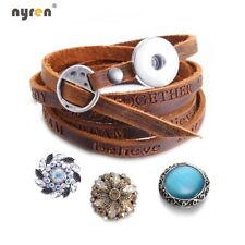 Genuine Leather Snap Charms Bracelet 18mm Snap Button 20mm Snap Jewelry SZ0776