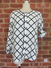 TRENERY XS COUNTRY ROAD BLOUSE SHIRT TOP SMART CASUAL WHITE NAVY GREEN PRINT