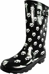 NORTY Womens Hurricane Wellie Gloss Mid-Calf Paw Printed Rain Boots Black 11