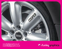 MINI COOPER LOGO ALLOY WHEEL DECALS STICKERS GRAPHICS x5 BLACK VINYL