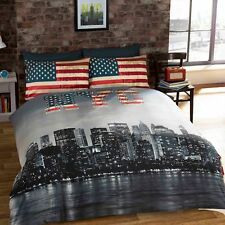 Print Luxury Duvet Quilt Cover With Pillowcase Reversible Bedding Set All Sizes NYC King